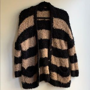 Free People Black and Tan cozy oversized cardigan